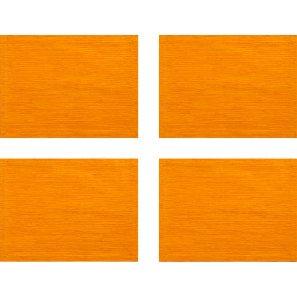 Set of 4 Grasscloth Tangerine Placemats