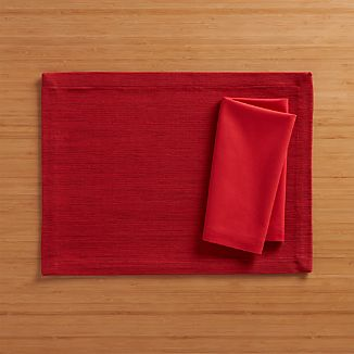 Grasscloth Ruby Placemat and Fete Ruby Cotton Napkin
