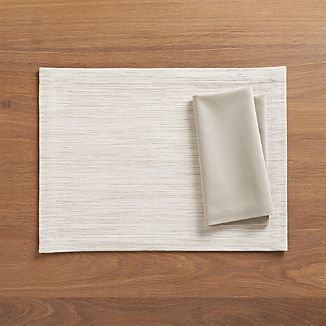 Grasscloth White Placemat and Fete Dove Cotton Napkin