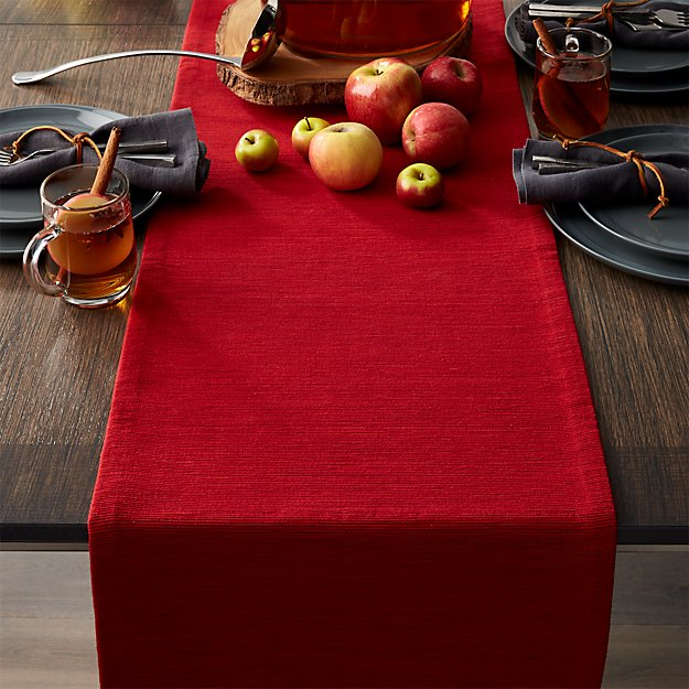 "Grasscloth 90"" Ruby Red Table Runner"