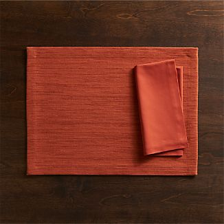 Grasscloth Sienna Placemat and Fete Sienna Napkin