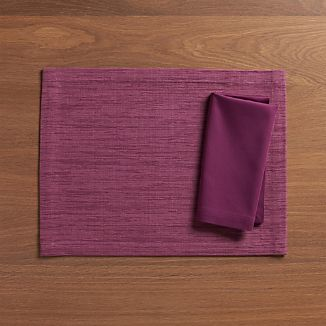Grasscloth Violet Placemat and Fete Violet Napkin