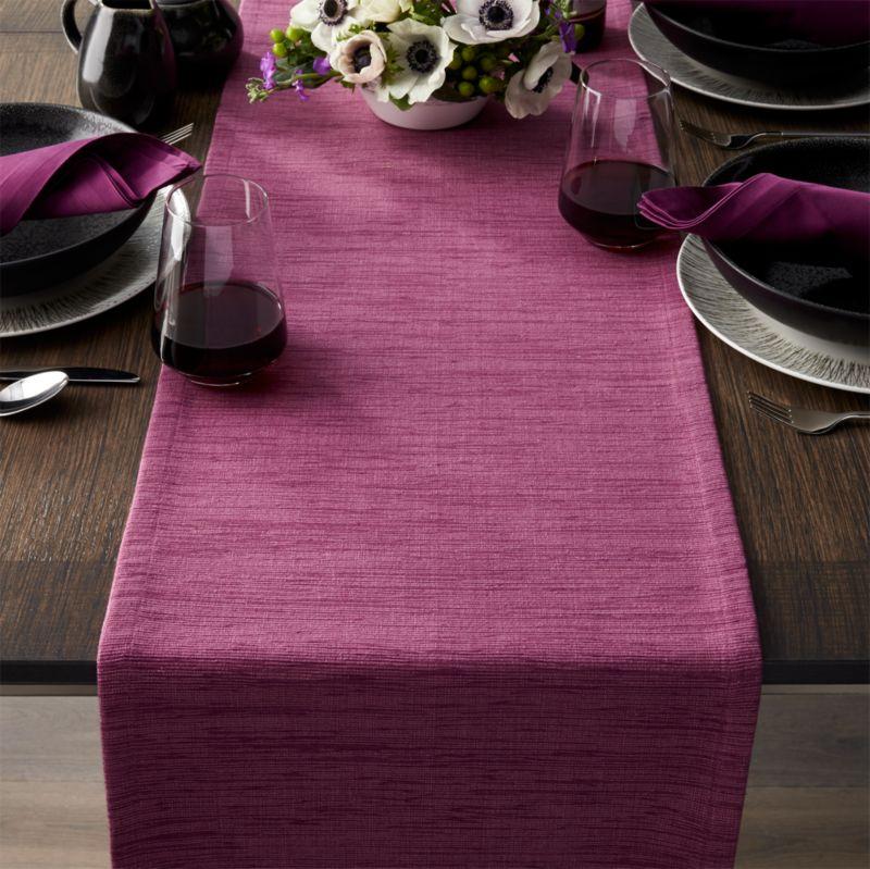 "Grasscloth 90"" Violet Purple Table Runner"