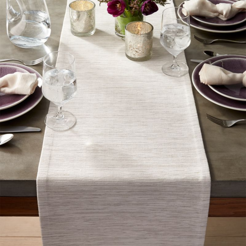 Grasscloth 90 Quot White Table Runner Crate And Barrel