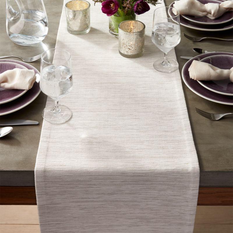 """Grasscloth 90"""" White Table Runner"""