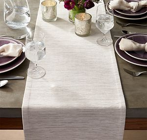 "Grasscloth 90"" White Table Runner"