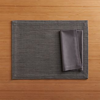 Grasscloth Graphite Placemat and Fete Pewter Cotton Napkin