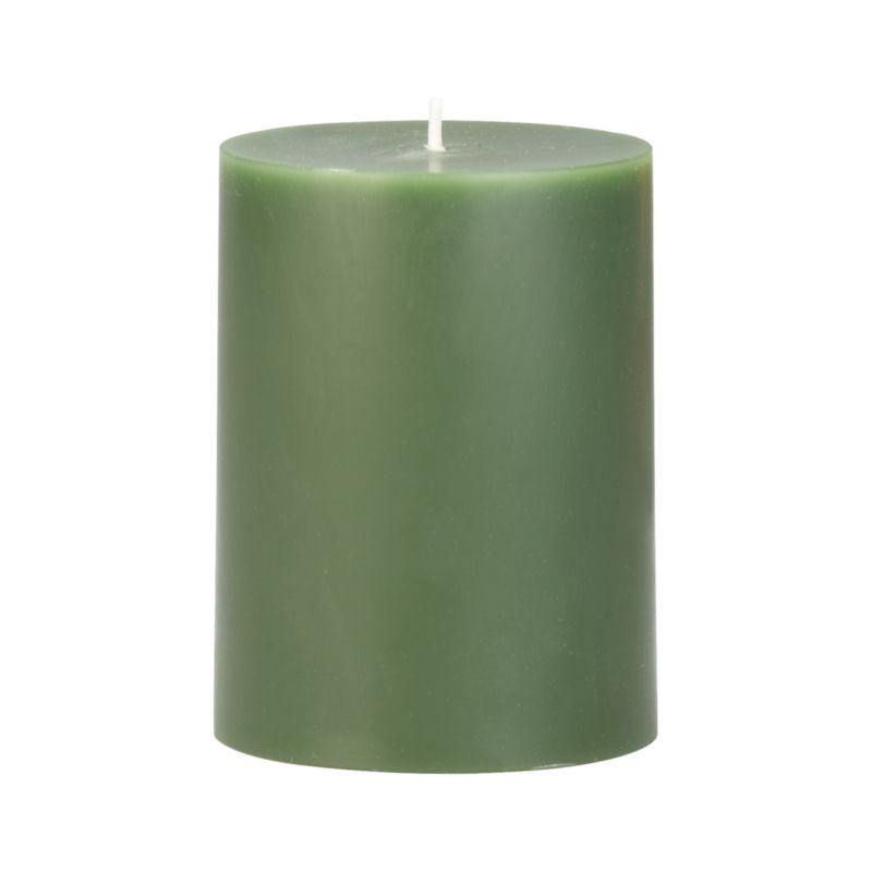 """Stock up on the classic pillar candle, in forest green.<br /><br /><NEWTAG/><ul><li>Paraffin wax</li><li>Cotton wick</li><li>Unscented</li><li>Burn time: 3""""x4"""" (40 hours)</li><li>Made in India</li></ul>"""