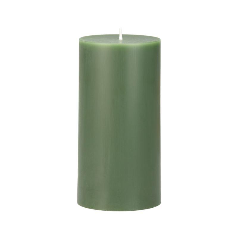 """Stock up on the classic pillar candle, in forest green.<br /><br /><NEWTAG/><ul><li>Paraffin wax</li><li>Cotton wick</li><li>Unscented</li><li>Burn time: 3""""x6"""" (80 hours)</li><li>Made in India</li></ul>"""