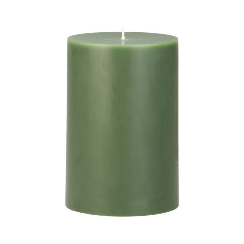 "Stock up on the classic pillar candle, in forest green.<br /><br /><NEWTAG/><ul><li>Paraffin wax</li><li>Cotton wick</li><li>Unscented</li><li>Burn time: 4""x6"" (120 hours)</li><li>Made in India</li></ul>"