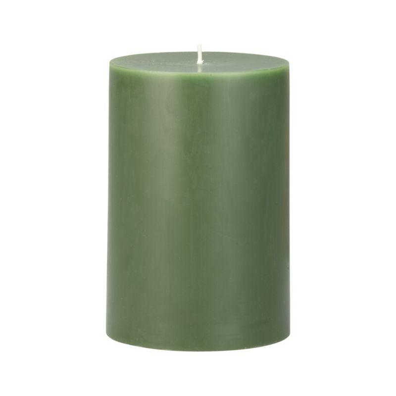 """Stock up on the classic pillar candle, in forest green.<br /><br /><NEWTAG/><ul><li>Paraffin wax</li><li>Cotton wick</li><li>Unscented</li><li>Burn time: 4""""x6"""" (120 hours)</li><li>Made in India</li></ul>"""