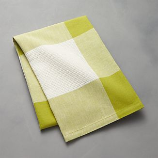 Green Check Dish Towel