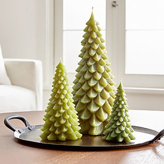 A classic holiday candle shows off beautiful shape and detailing. Each looks stately on its own. But you can also create your own evergreen forest, clustering pine tree candles together.100% paraffin waxUnscentedBurn time: short (12 hours), tall (40 hours)Made in Hong Kong