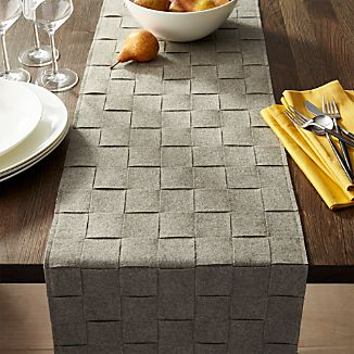 Basketweave Grey Felt Table Runners