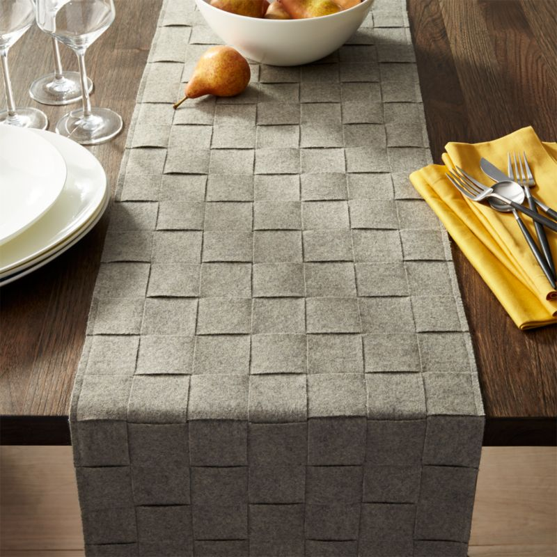 "Basketweave Grey Felt 120"" Table Runner"