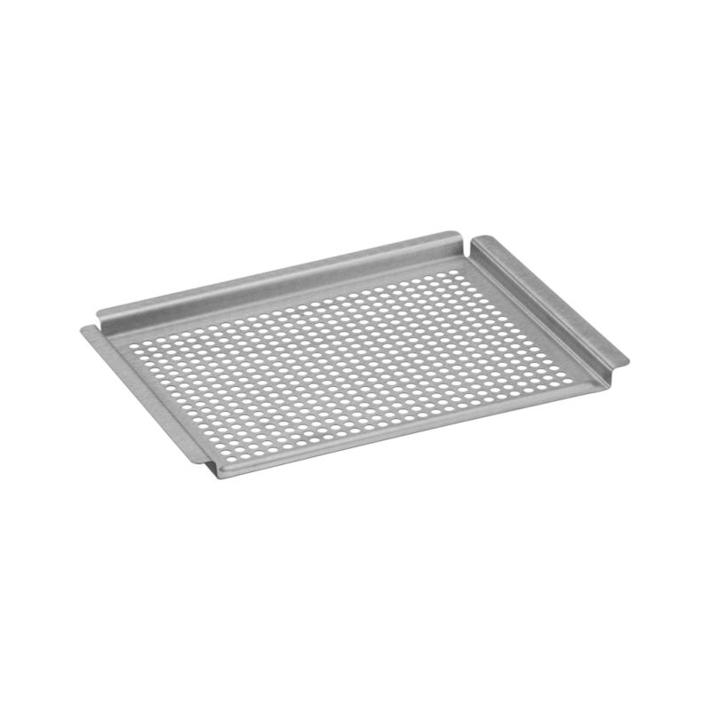Brushed stainless grid with raised handle rim all around is the smart choice for grilling small and delicate foods like seafood, fruit and veggies. Consistent perforations mean even heat distribution every time without food loss through the grill grate.<br /><br /><NEWTAG/><ul><li>Stainless steel</li><li>Heat-safe to 572 degrees</li><li>Dishwasher-safe</li></ul>