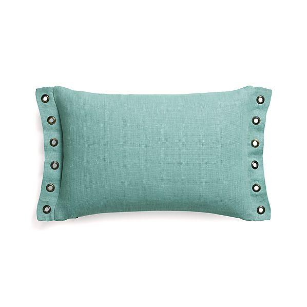 "Grommet Aqua 18""x12"" Pillow with Down-Alternative Insert"