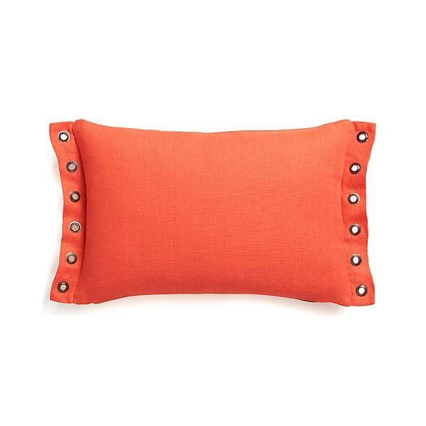 "Grommet Orange 18""x12"" Pillow with Feather-Down Insert"