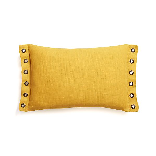 "Grommet Yellow 18""x12"" Pillow with Down-Alternative Insert"