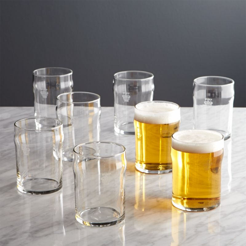 Set Of 8 Half Pint Glass Tumblers With Crown Crate And