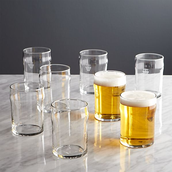 Half Pint Glass Tumblers with Crown Set of Eight