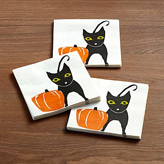 Black Cat Paper Lunch Napkins Set of 20