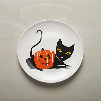 Halloween Black Cat Melamine Dinner Plate