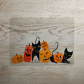 Halloween Cats and Pumpkins Easy-Care Placemat