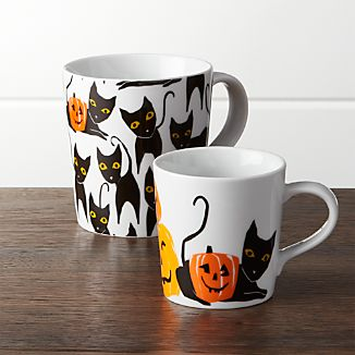 Halloween Cat and Pumpkin Mugs