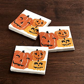 Halloween Pumpkins Paper Beverage Napkins Set of 20