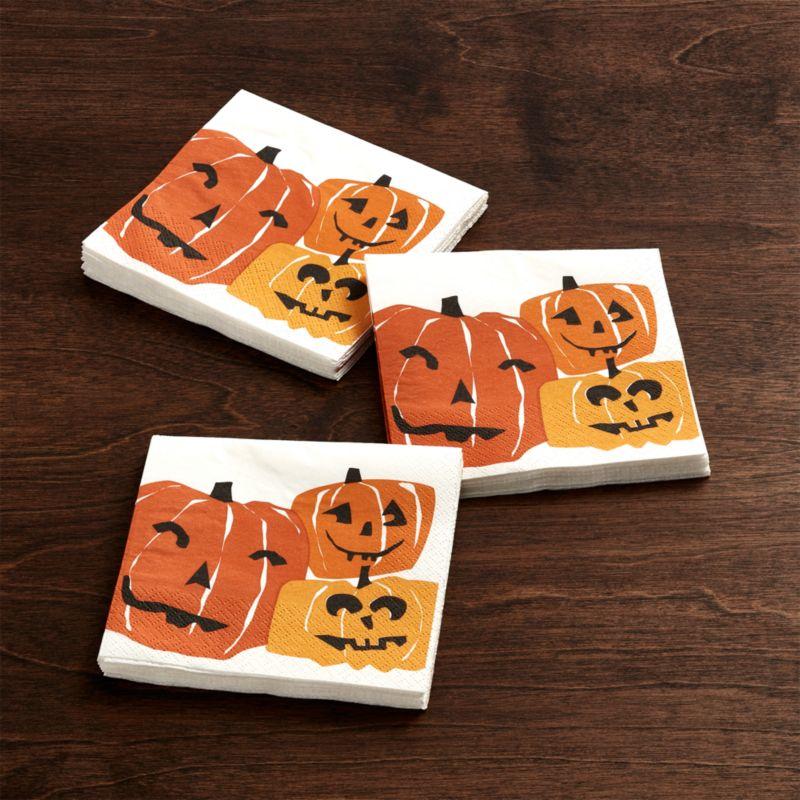 Halloween Pumpkins Paper Beverage Napkins Set of 20