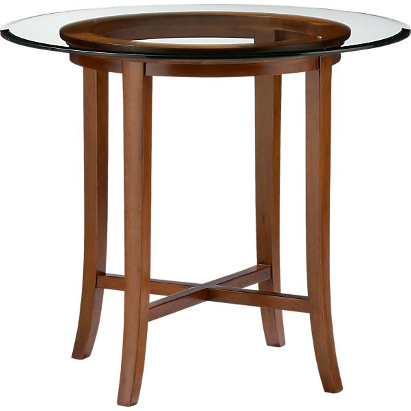 "Halo Cognac 36"" High Dining Table with 42"" Glass Top"
