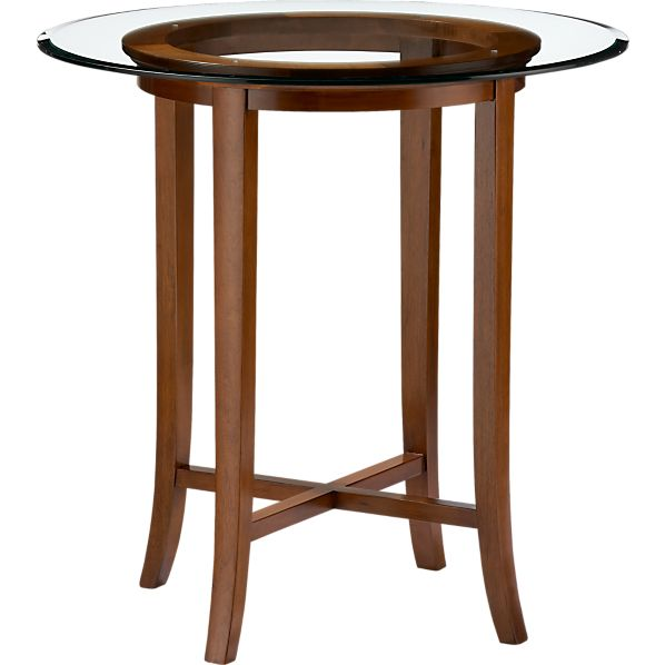 """Halo Cognac 42"""" High Dining Table with 42"""" Glass Top"""