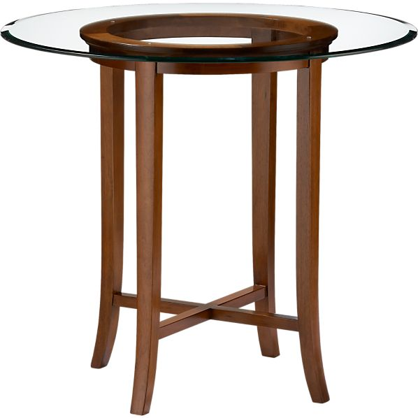 "Halo Cognac 42"" High Dining Table with 48"" Glass Top"