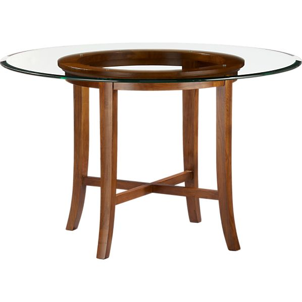 """Halo Cognac Dining Table with 48"""" Glass Top"""
