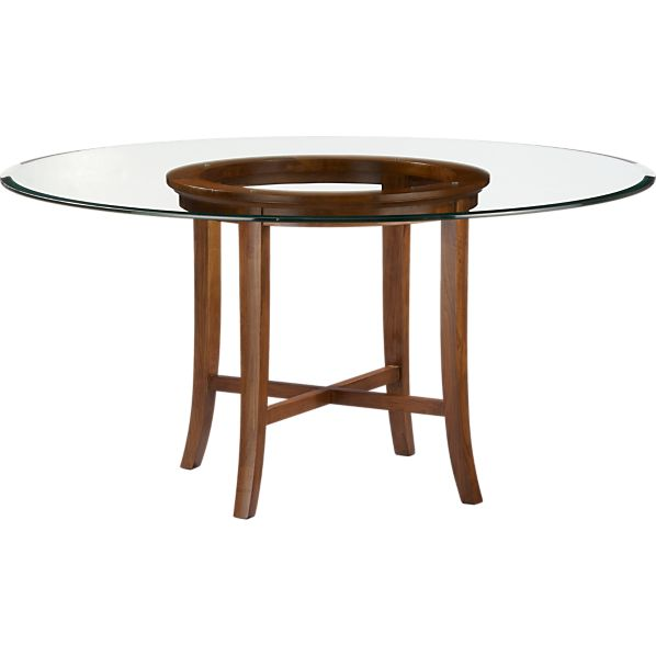 "Halo Cognac Dining Table with 60"" Glass Top"