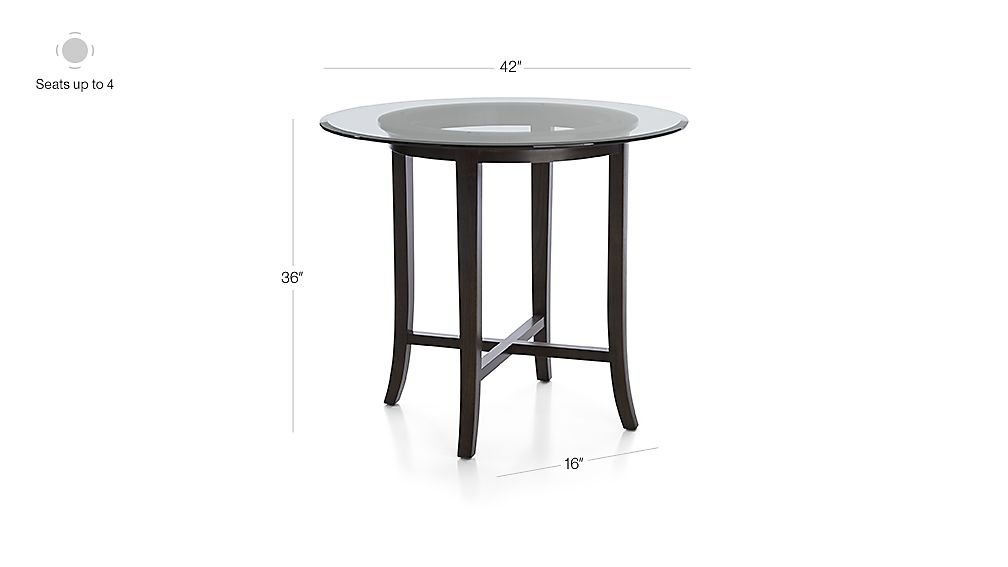 Dimensions For Halo Ebony Round High Dining Table With 42 Glass Top