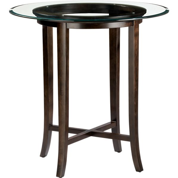 "Halo Ebony 42"" High Dining Table with 42"" Glass Top"