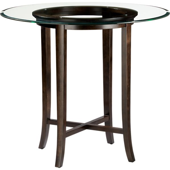 """Halo Ebony 42"""" High Dining Table with 48"""" Glass Top"""