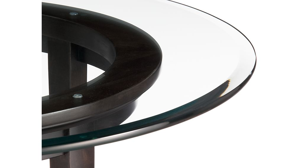 Halo Ebony Round Dining Table with 42quot Glass Top Crate  : HaloEbonyTableAVF10 from crateandbarrel.com size 1008 x 567 jpeg 28kB