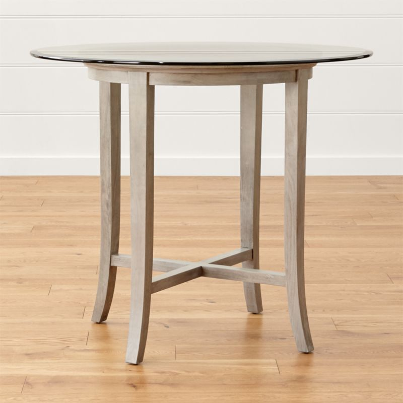 """High Round Dining Table: Halo Grey Round High Dining Table With 42"""" Glass Top"""