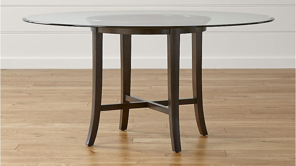 "Halo Ebony Round Dining Table with 60"" Glass Top"
