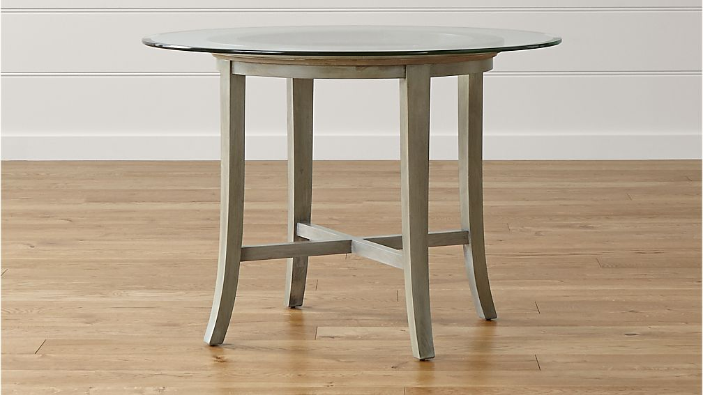 Halo Grey Round Dining Table With 42 Glass Top Crate And Barrel