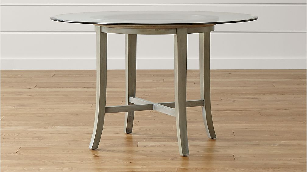 """Round Glass Dining Table 48 Inches: Halo Grey Round Dining Table With 48"""" Glass Top"""