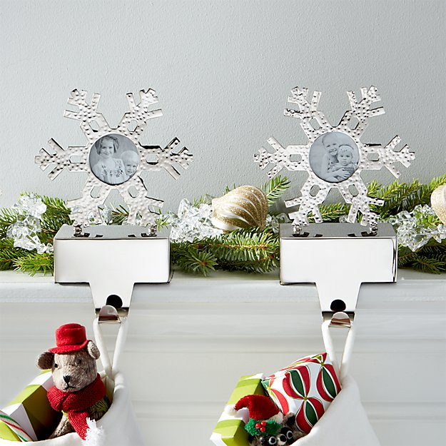 Hammered Snowflake Picture Frame Stocking Hooks Set of 2