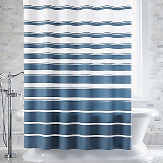 Hampton Blue-White Striped Shower Curtain
