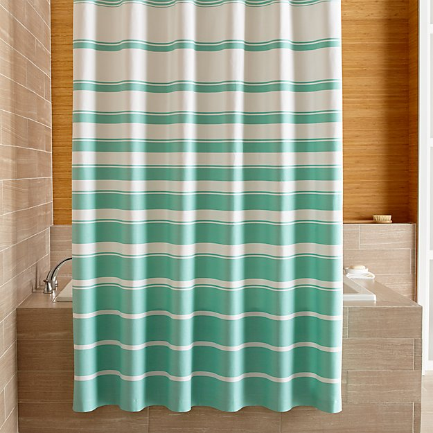 Hampton Green White Striped Shower Curtain