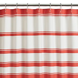 Hampton Stripe Coral Shower Curtain