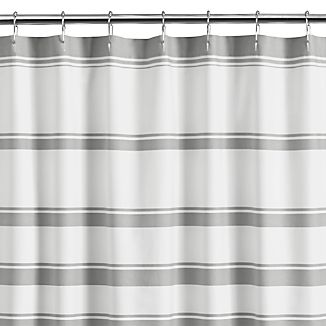 Hampton Stripe Grey Shower Curtain