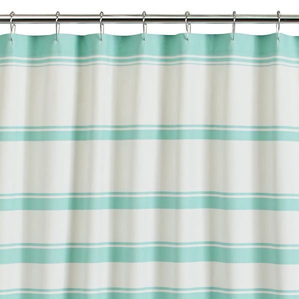 Hampton Stripe Seafoam Shower Curtain In Shower Curtains Rings Crate And Barrel